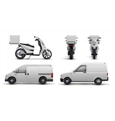 delivery transport realistic scooter car and van vector image