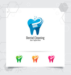 Dental logo design with concept toothbrush vector