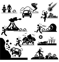 Disaster doomsday catastrophe stick figure vector