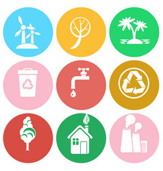 ecology protection isolated round icons collection vector image