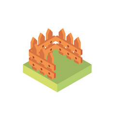 farm field with wooden fence rural isometric icon vector image