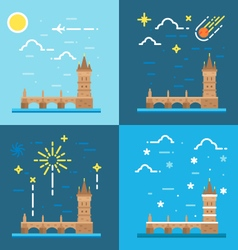 Flat design of Charles bridge Czech vector