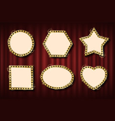 frames and banners in retro style golden bulb vector image