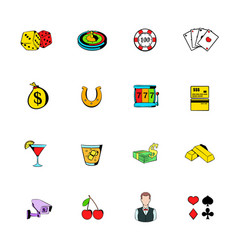 Gambling icons set cartoon vector