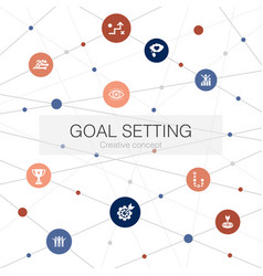Goal setting trendy web template with simple icons vector