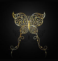 Gold butterfly with swirl pattern vector