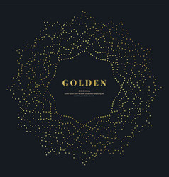 gold dotted wavy mandala on black background vector image