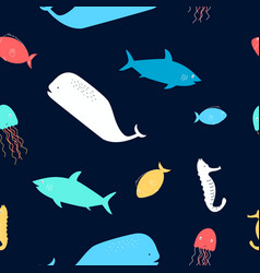 Hand drawing colorful fish seamless pattern vector