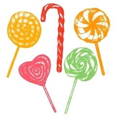 hand drawn lollipop set vector image