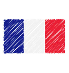 hand drawn national flag of france isolated on a vector image