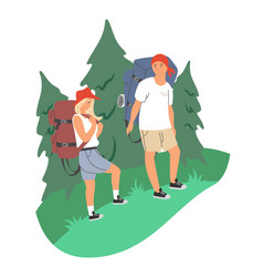 happy couple with backpacks in forest vector image