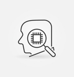 head with magnifier and chip outline vector image