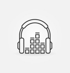headphone with sound equalizer linear icon vector image