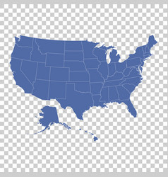 high detail usa map with federal states flat vector image