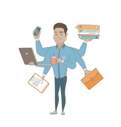 Hispanic businessman coping with multitasking vector