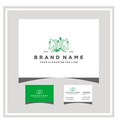 Horse leaf logo design and business card vector