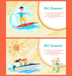 Hot summer cards set framed vector