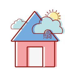 House with clouds raining and sun tropical weather vector