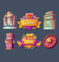 Icons of casino buildings and signboards vector