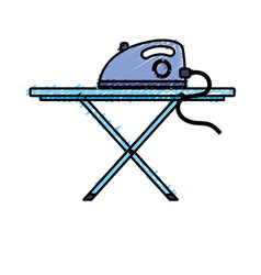 Iron electrical object and ironing board vector