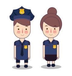 Kids wearing police cop costume vector