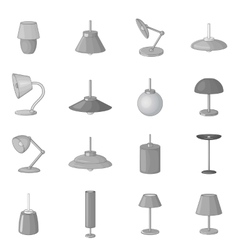 Lamp icons set monochrome style vector image