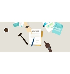 lawsuit paper hands pen gavel on desk vector image