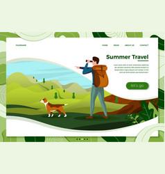 Man travel with dog looking in binoculars vector
