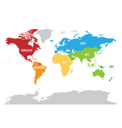 map of world football or soccer confederations - vector image