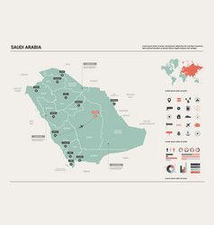 Map saudi arabia country map with division vector