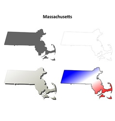 Massachusetts outline map set vector image
