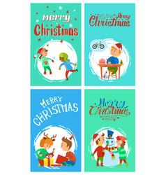 merry christmas holidays children having fun cards vector image