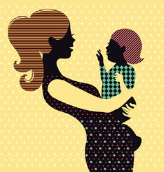 Mother and baby in retro style vector image