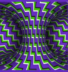 Moving zigzag patterned torus purple green vector