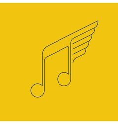 Music logo thin lines with wings vector
