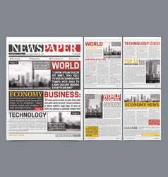 Newspaper template design realistic poster vector