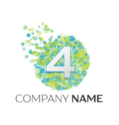 number four logo blue green yellow particles vector image