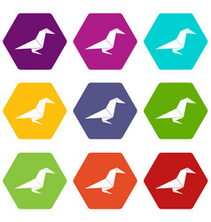 Origami raven icons set 9 vector