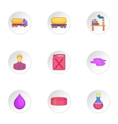 Petroleum icons set cartoon style vector