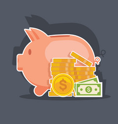 piggy bank and money tower flat vector image
