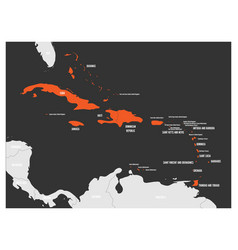 Political map of carribean orange highlighted vector