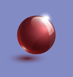 Realistic red bright glass ball 3d vector