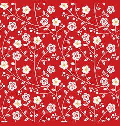 Red gold plum blossom flower seamless pattern vector