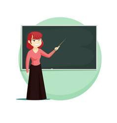 Red-haired teacher stands at blackboard vector