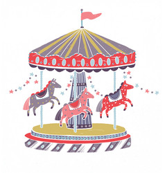 Retro style carousel roundabout or merry-go-round vector