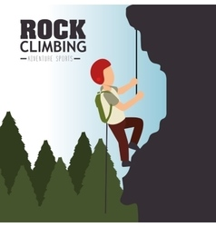 rock climbing man emblem graphic vector image