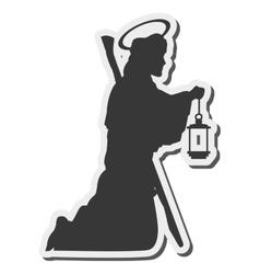 Saint joseph silhouette icon vector