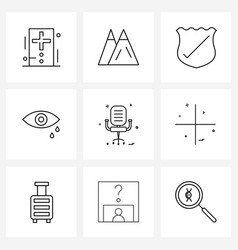Set 9 simple line icons for web and print vector