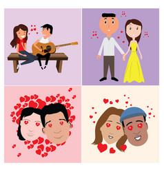 Set in-love characters vector
