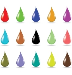 Set of 15 colorful droplets on white background vector